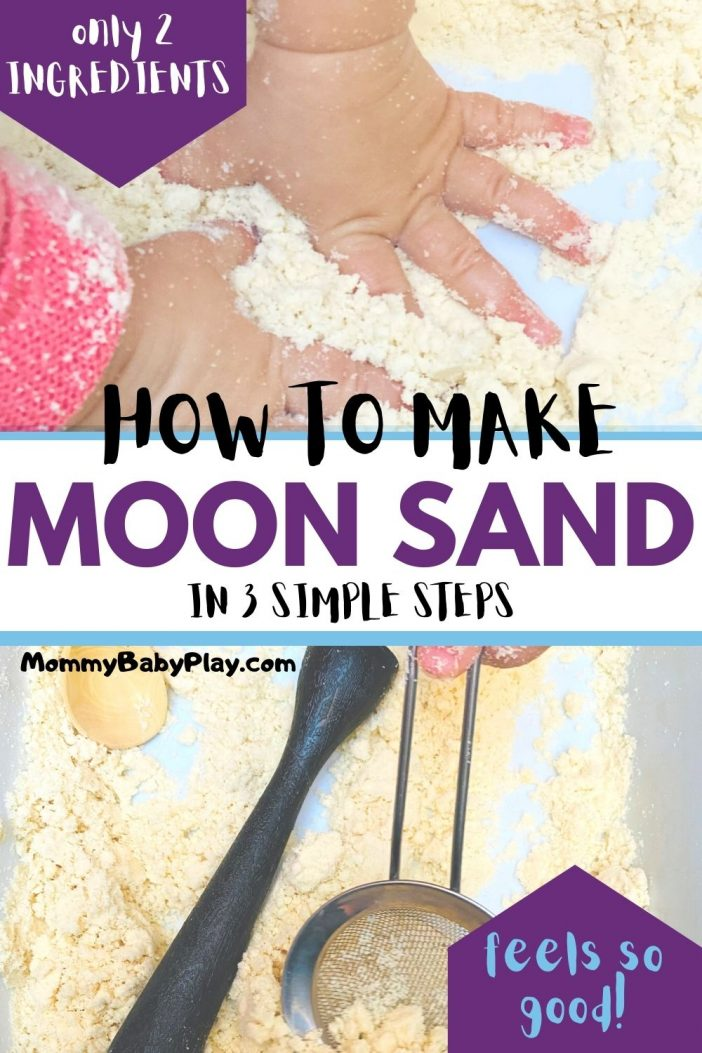 2-Ingredient Moon Sand Recipe - super FUN & EASY to clean!