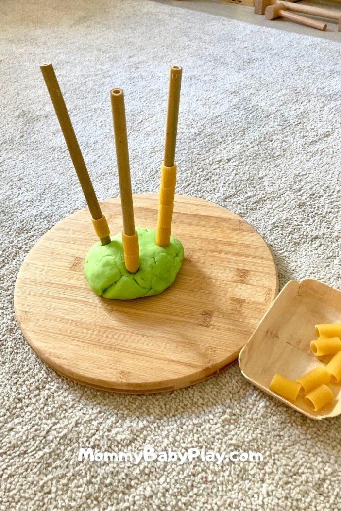pasta threading with straws
