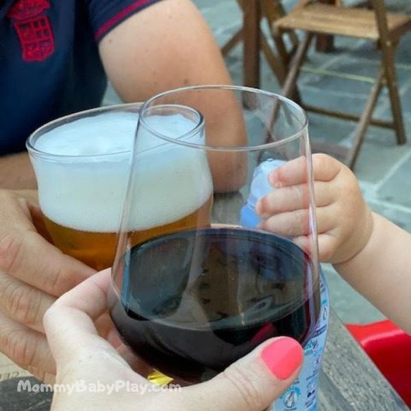 copy & repeat 'cheers' with mummy and daddy