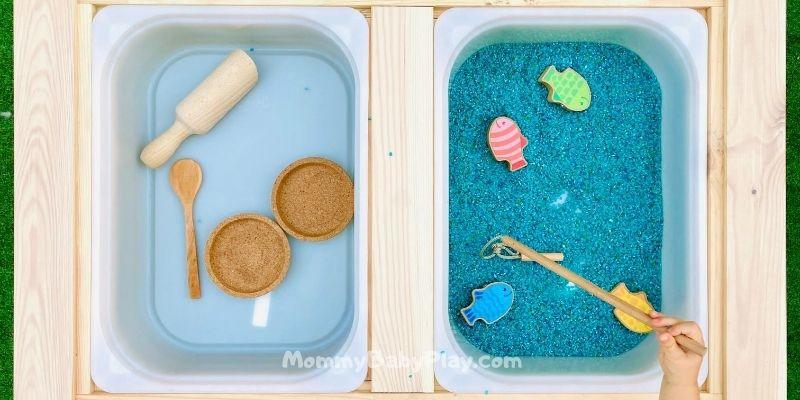 rice fishing sensory table