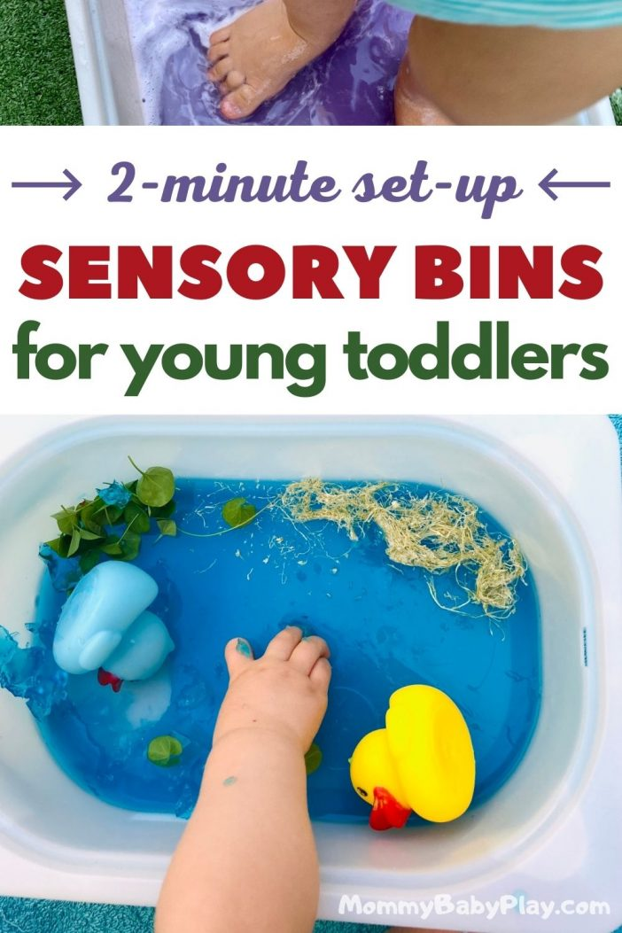 Sensory Bins For 1 Year Old Toddlers {Super Easy 2 Minute Set UP}