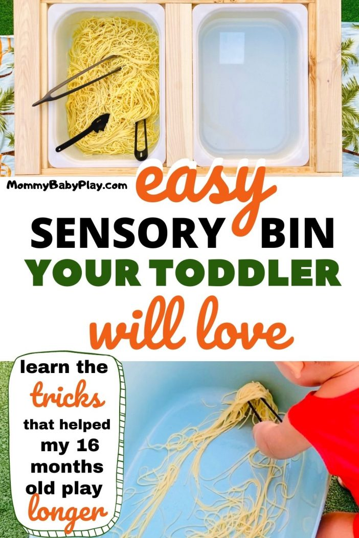 Quick & Easy Spaghetti Sensory Bin For 1 Year Old and UP